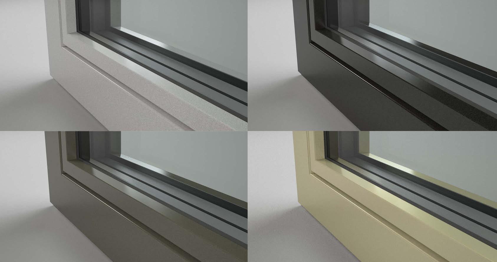 Finestre in alluminio con superficie ruvida effetto metallizzato