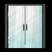 porta in vetro con apertura a scrigno