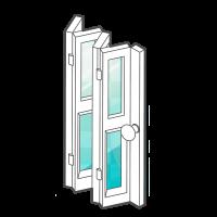esempio di porta in vetro pieghevole con apertura a libro