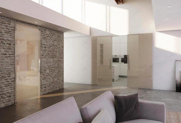 Porte in vetro moderne scorrimento esterno